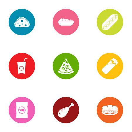 Daily bread icons set, flat style