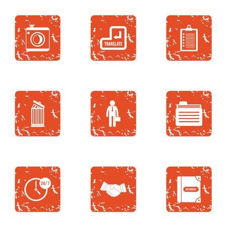 Business translation icons set, grunge style