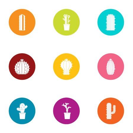 Cactus icons set, flat style