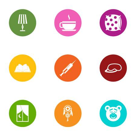 Fell asleep icons set, flat style Ilustracja