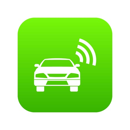 Car with wifi sign icon digital green