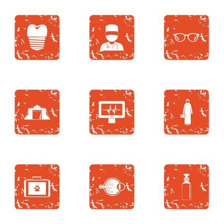 Resolve icons set, grunge style Illustration