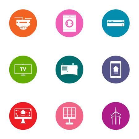 Technological progressiveness icons set, flat style