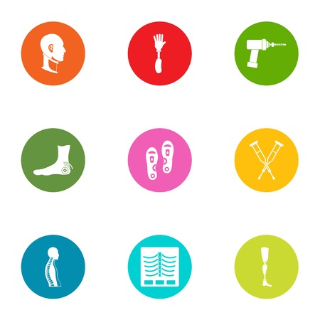 Fracture icons set, flat style