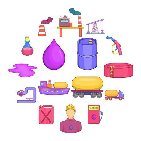 Oil industrial icons set, cartoon style Illustration