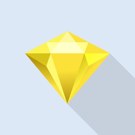 Diamond citrine icon, flat style
