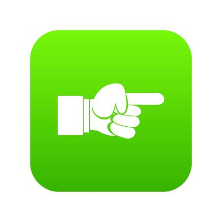Pointing hand gesture icon digital green Illustration