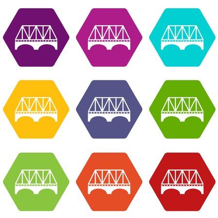 Railway arch bridge icons set 9 vector