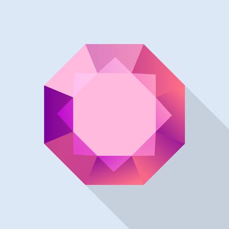 Diamond ruby icon, flat style