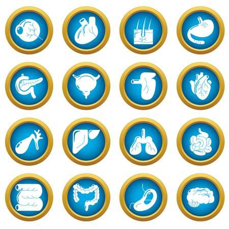 Internal human organs icons set, simple style