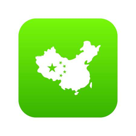 Map of China icon digital green