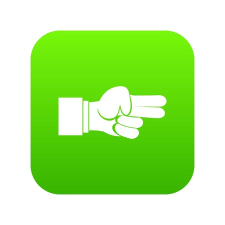 Hand showing two fingers icon digital green