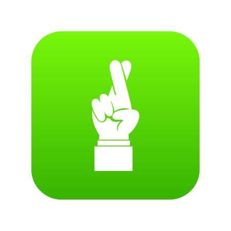 Fingers crossed icon digital green Stock Illustratie
