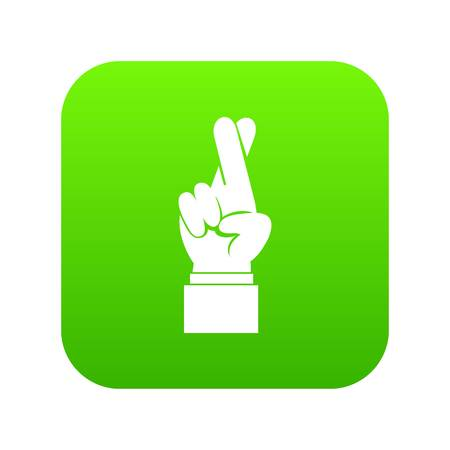 Fingers crossed icon digital green Illustration