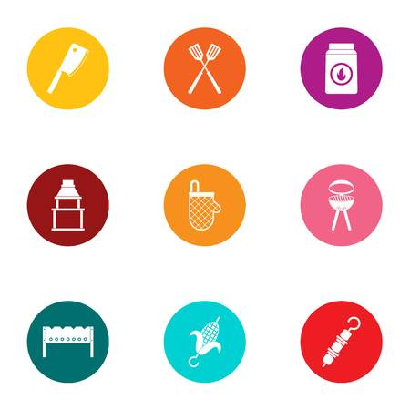 Cookout icons set, flat style
