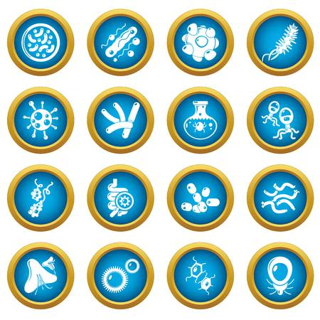 Virus bacteria icons set, simple style Vectores