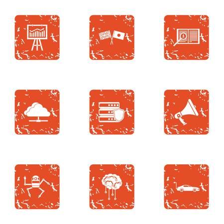 Mentality icons set, grunge style