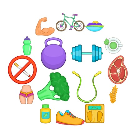 Healthy lifestyle icons set, cartoon style