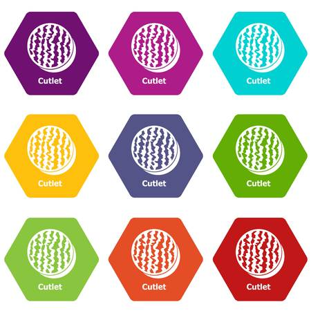 Cutlet icons set 9 vector