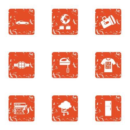 Business band icons set, grunge style
