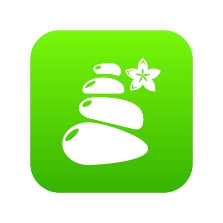 Spa balance stones icon green vector