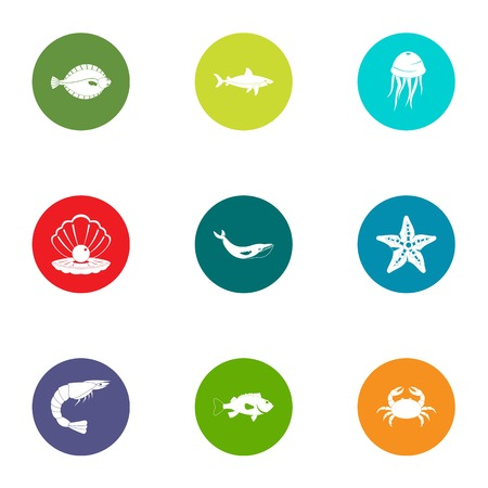 Underwater life icons set, flat style