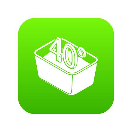 Hand wash 40 degrees celsius icon green vector