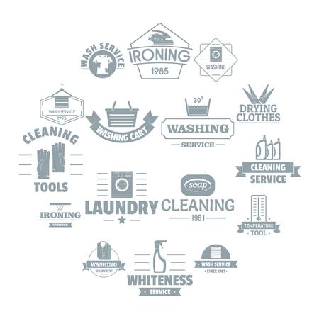 Laundry cleaning  icons set, simple style