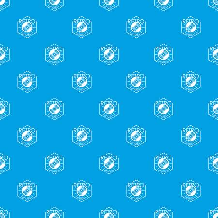Retro music pattern vector seamless blue