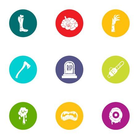 Rip icons set, flat style Illustration