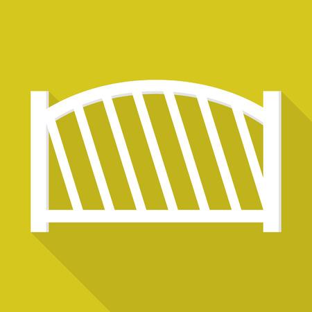 White wood fence icon, flat style