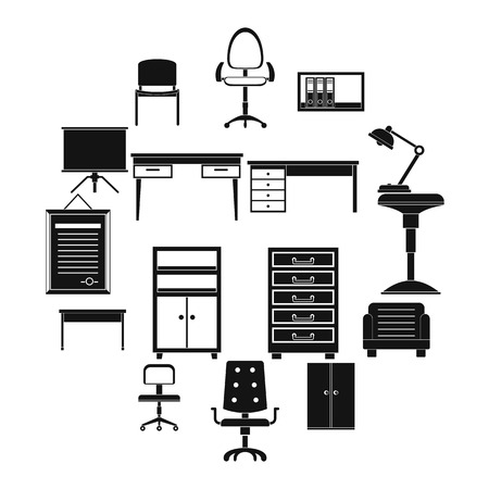 Office furniture icons set, simple style