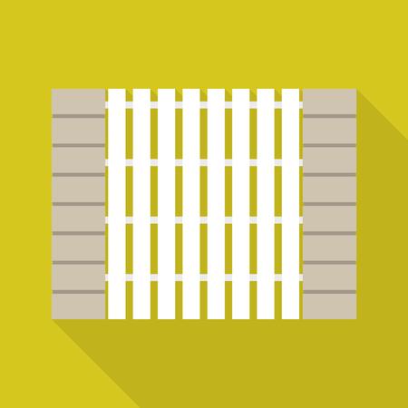 Stone wood fence icon, flat style