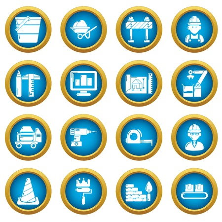 Building process icons set, simple style Illustration