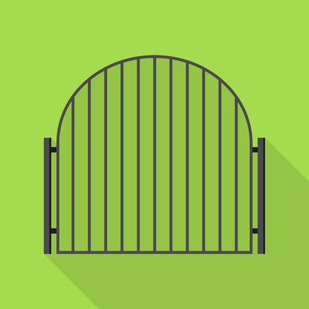 Metal gate icon, flat style
