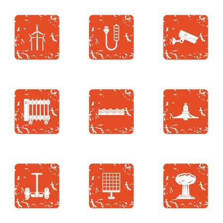 Energy crunch icons set, grunge style