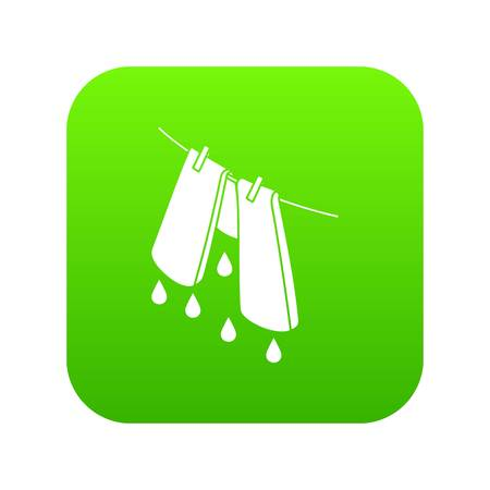Pants drying icon green vector