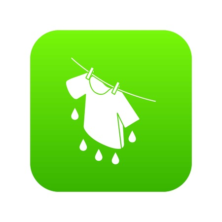 Shirt drying icon green vector