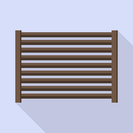 Horizontal wood fence icon, flat style