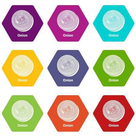 Onion icons set 9 vector  イラスト・ベクター素材