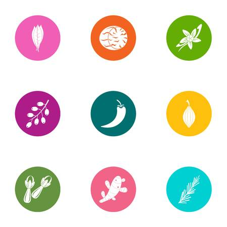 Forest leaf icons set, flat style
