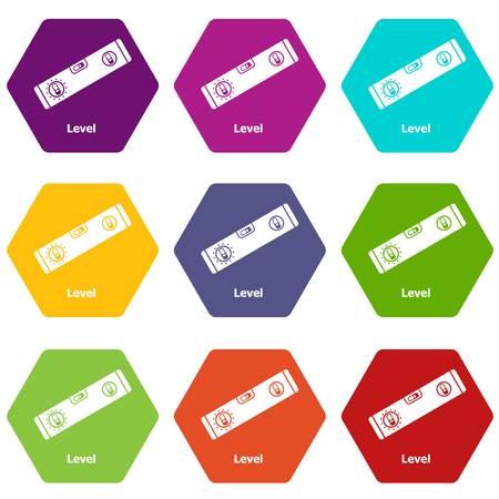 Level icons set 9 vector