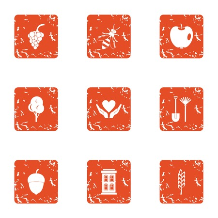 Fudge icons set, grunge style Stock Illustratie