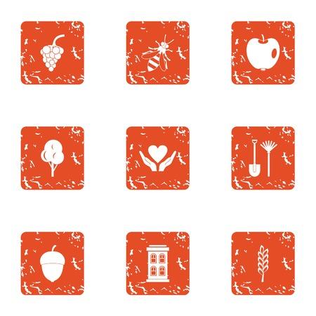 Fudge icons set, grunge style Illustration
