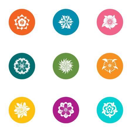 Snowflake icons set, flat style
