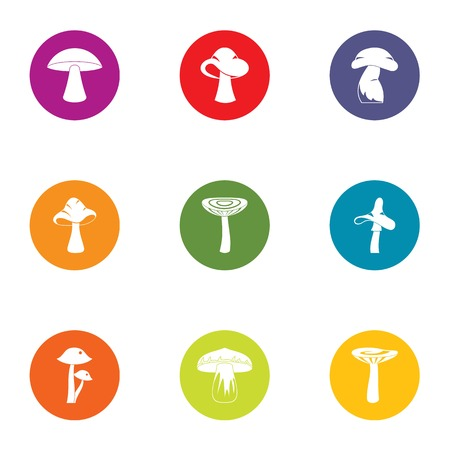 Mycotic icons set, flat style