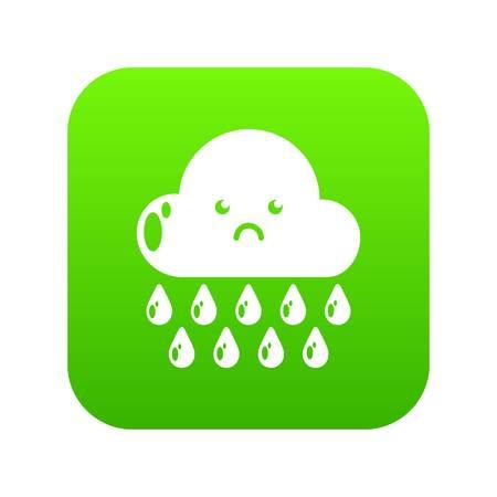 Rain icon green vector