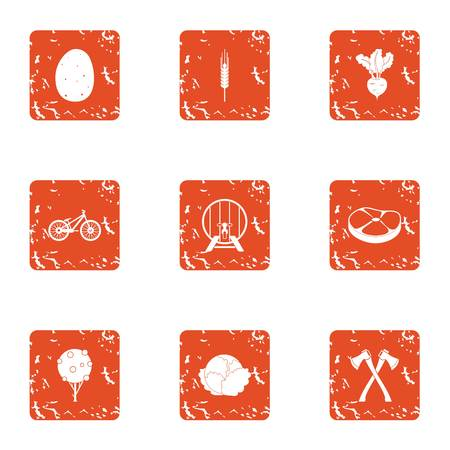 Concoction icons set, grunge style