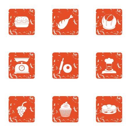 Fruit edible icons set, grunge style
