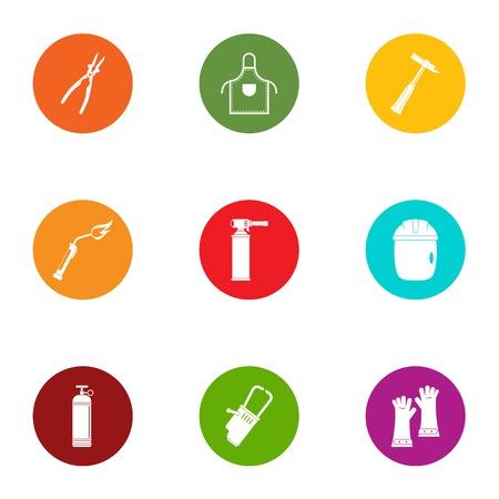 Vegetable garden tool icons set, flat style Illustration